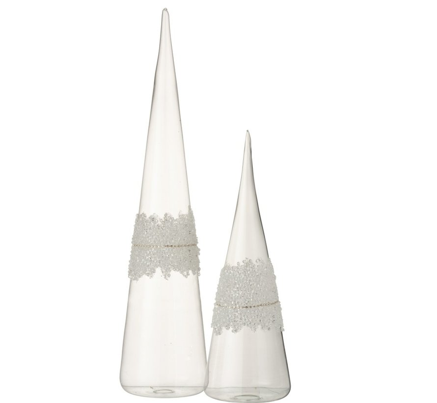 Decoration Christmas Cone Glass Sugar Transparent - Large