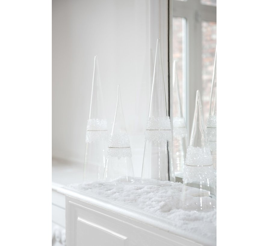 Decoratie Kerstkegel Glas Suiker Transparant - Large