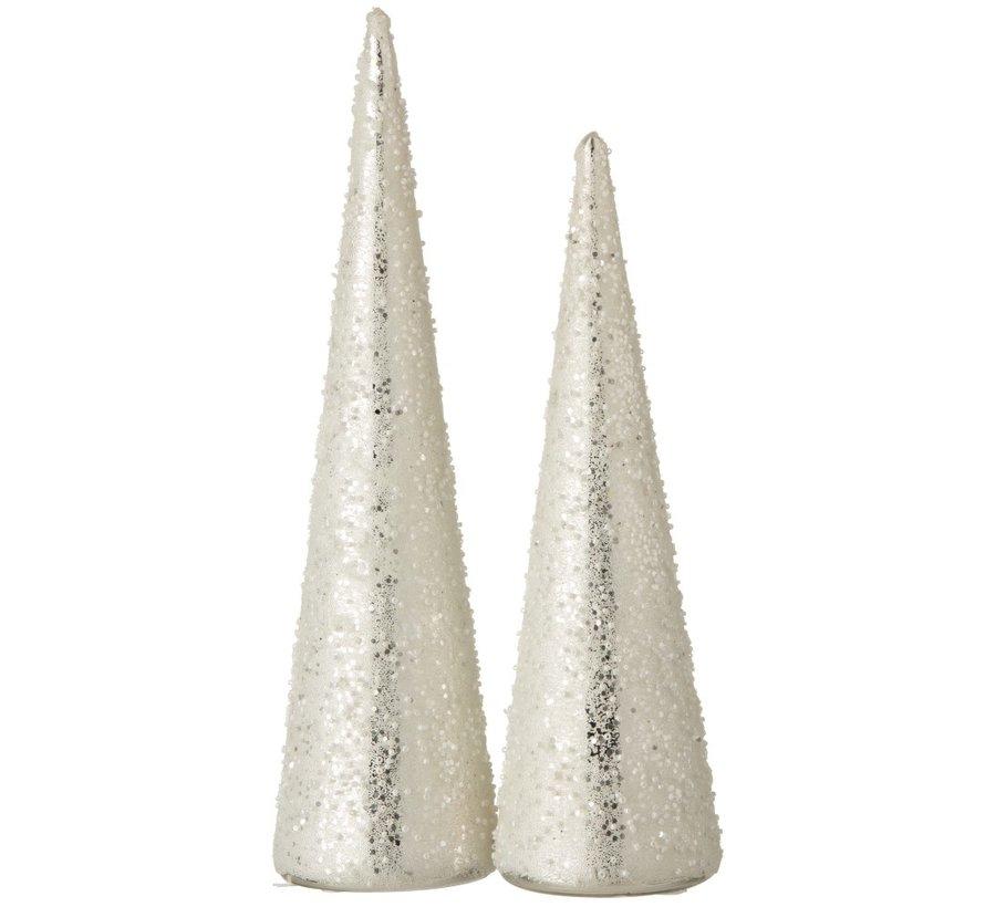 Decoratie Kerstkegel Glas Parels Wit Zilver - Large