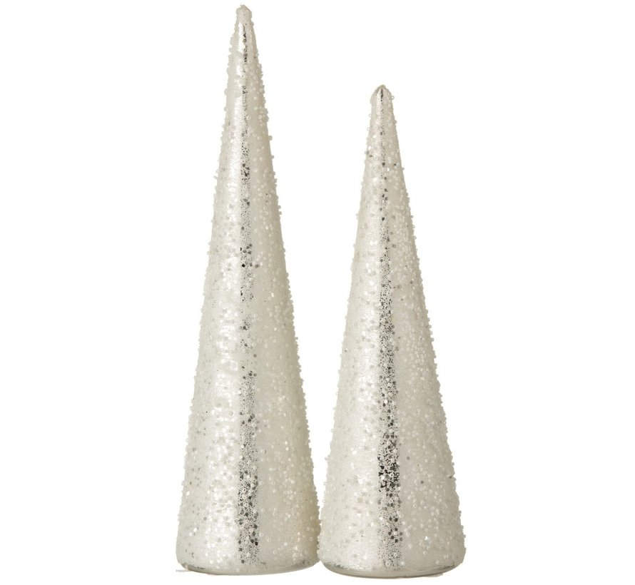 Decoration Christmas Cone Glass Pearls White Silver - Small