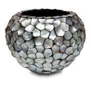 Pot & Vaas Shells Flowerpot Round Mother of Pearl Silver - Large
