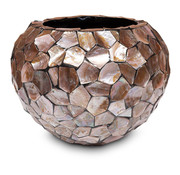 Pot & Vaas Shells Flowerpot Round Mother of Pearl Brown - Large