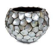 Pot & Vaas Schelpen Bloempot Rond Parelmoer Zilver - Medium