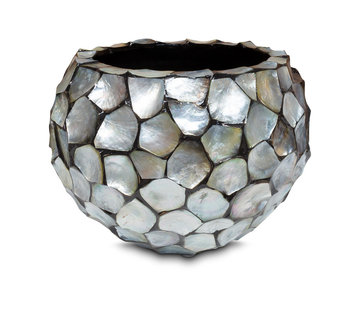 Pot & Vaas Shells Flowerpot Round Mother of Pearl Silver - Medium