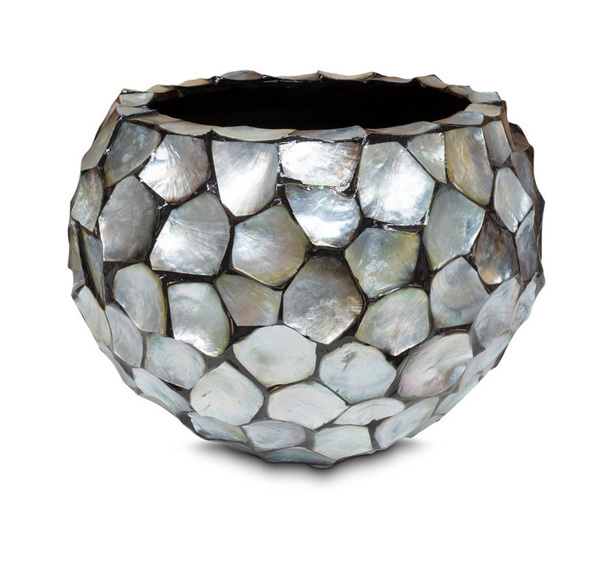 Shells Flowerpot Round Mother of Pearl Silver - Medium
