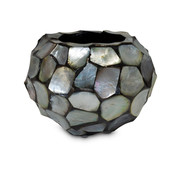 Pot & Vaas Shells Flowerpot Round Mother of Pearl Silver - Small