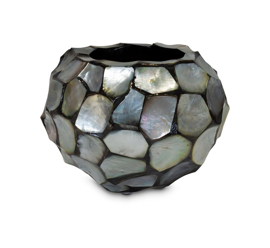 Shells Flowerpot Round Mother of Pearl Silver - Small