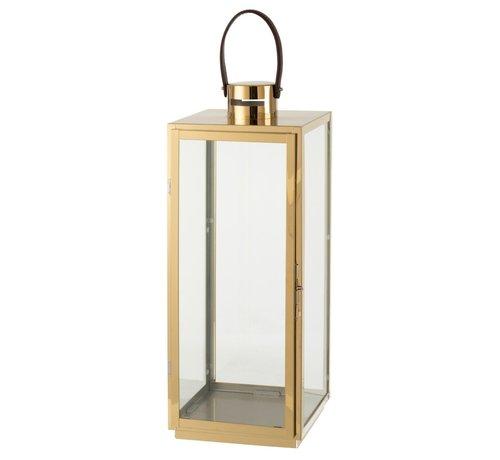 J-Line Lantern Rectangle Metal Glass Gold - Large