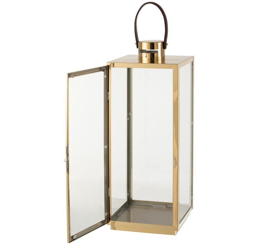 Lantern Rectangle Metal Glass Gold - Large