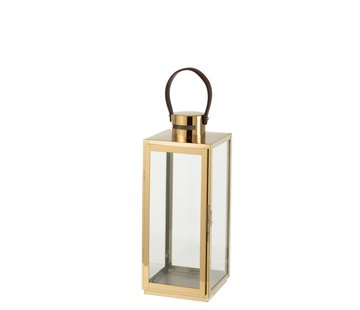 J-Line Lantern Rectangle Metal Glass Gold - Small