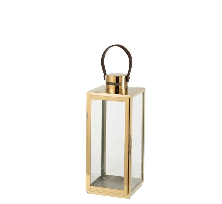 Lantern Rectangle Metal Glass Gold - Small