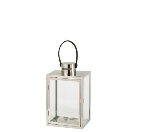 J-Line Lantern Rectangle Metal Glass Silver - Small