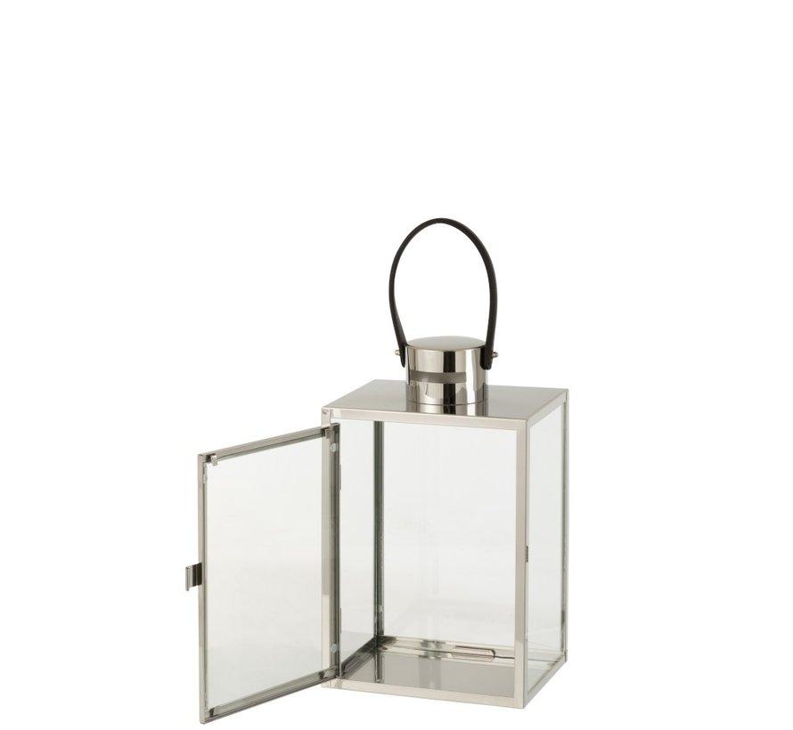 Lantern Rectangle Metal Glass Silver - Small