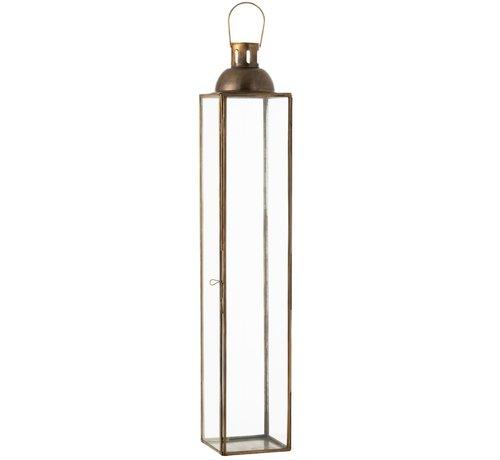 J-Line  Lantaarn Rechthoek Glas Metaal Antiek Brons - Large