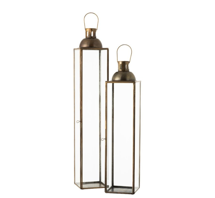 Lantaarn Rechthoek Glas Metaal Antiek Brons - Large