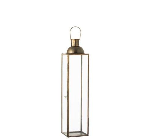 J-Line Lantaarn Rechthoek Glas Metaal Antiek Brons - Small