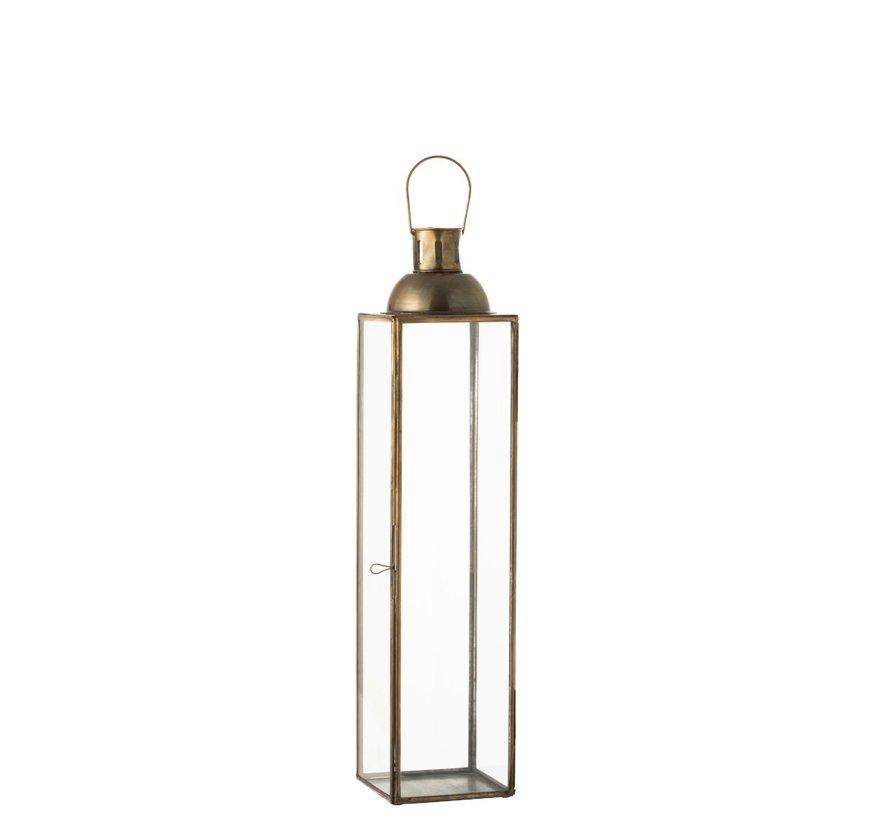 Lantern Rectangle Glass Metal Antique Bronze - Small