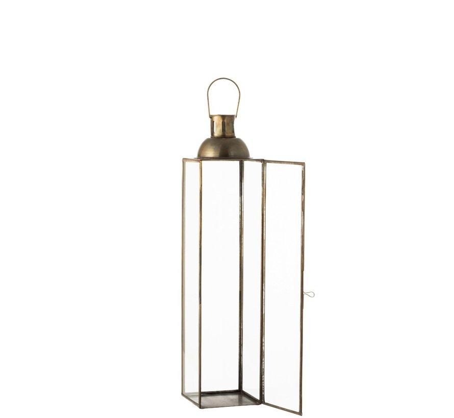 Lantaarn Rechthoek Glas Metaal Antiek Brons - Small