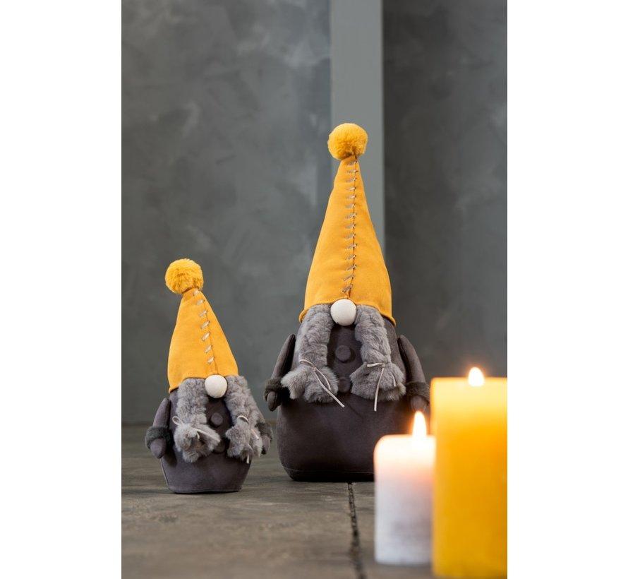 Decoratie Kerstman Textiel Oker Donkergrijs - Small