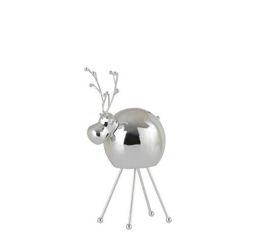 J -Line Decoration Reindeer Porcelain Shiny Silver - Small