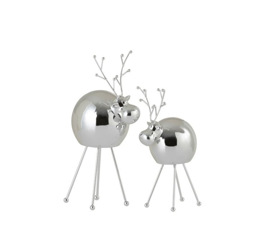 Decoration Reindeer Porcelain Shiny Silver - Small