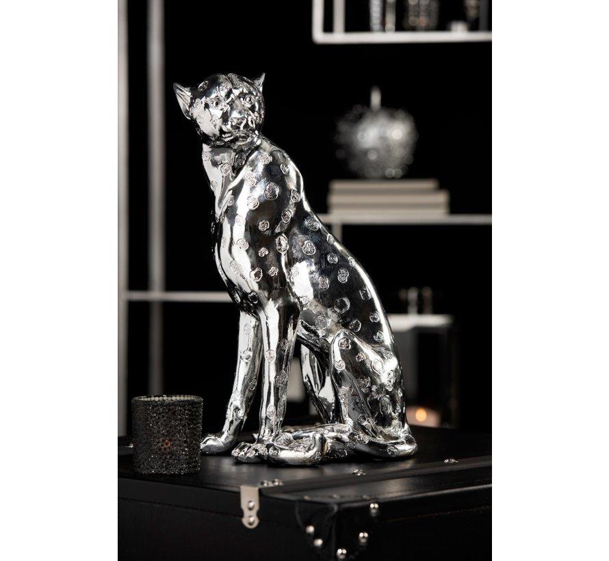 Decoratieve Zittende Luipaard Vlekken Zilver - Large