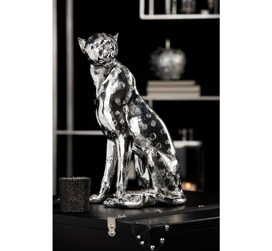 Decorative Seated Leopard Spots Silver - Large