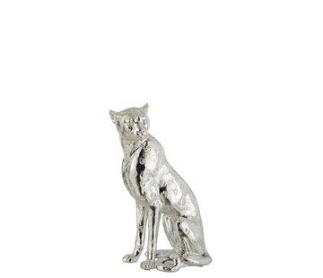 J -Line Decoratieve Zittende Luipaard Vlekken Zilver - Small