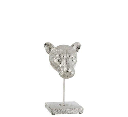 J -Line Decoration Head Leopard On Base Poly - Silver