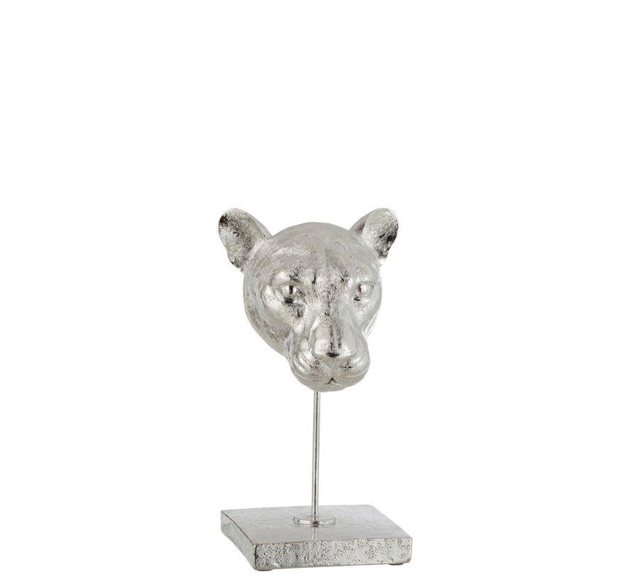 Decoratie Kop Luipaard Op Voet Poly - Zilver