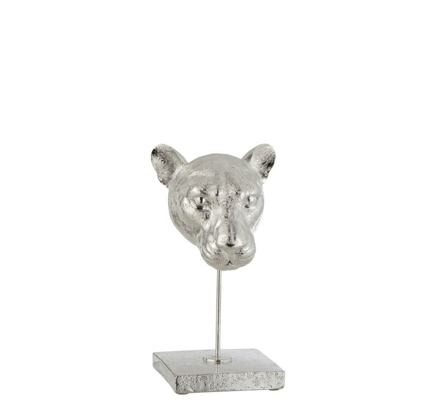 Decoration Head Leopard On Base Poly - Silver
