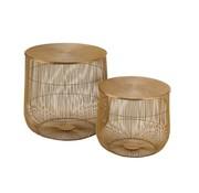 J -Line Side tables Round Baskets Ironwork Metal - Gold