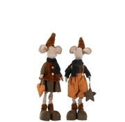 J-Line  Decorative Mice Textile Winter Orange Brown - Large