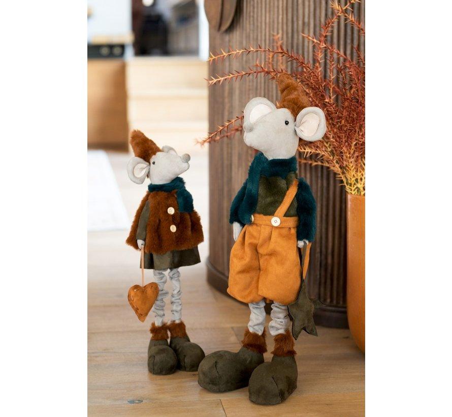 Decorative Mice Textile Winter Orange Brown - Large