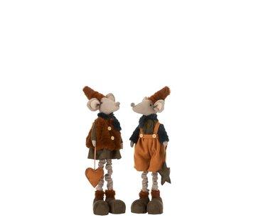 J -Line Decorative Mice Textile Winter Orange Brown - Small
