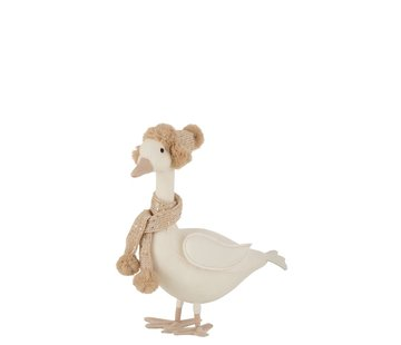 J-Line Decoration Duck Scarf With Hat White Beige - Large