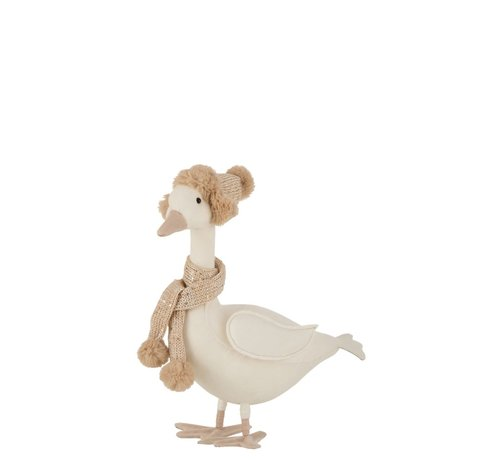 J -Line Decoration Duck Scarf With Hat White Beige - Large