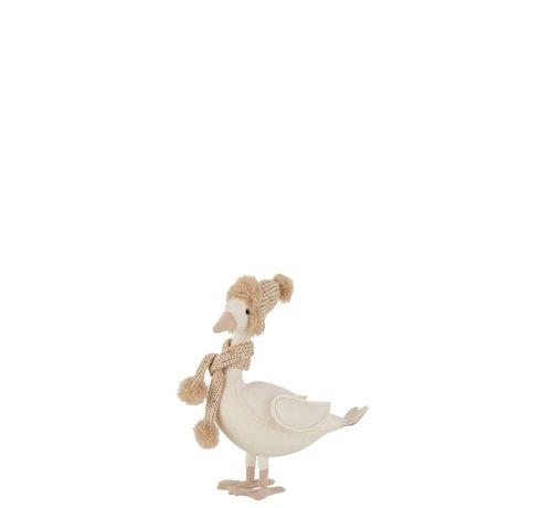 J -Line Decoratie Eend Sjaal Met Muts Wit Beige - Small