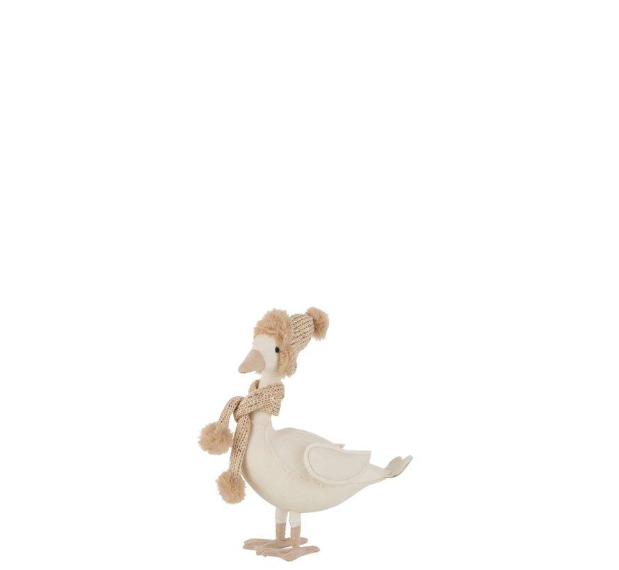 Decoratie Eend Sjaal Met Muts Wit Beige - Small