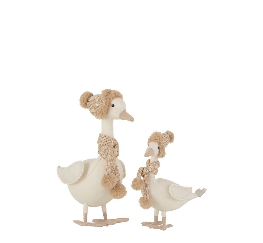 Decoration Duck Scarf With Hat White Beige - Small