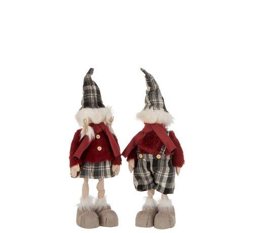 J-Line Decoratie Kerstpoppen Winter Kledij Mix Kleuren - Small