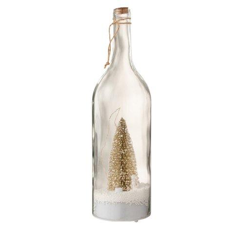 J -Line Decoratie Fles Kerstboom Ledverlichting Goud - Wit