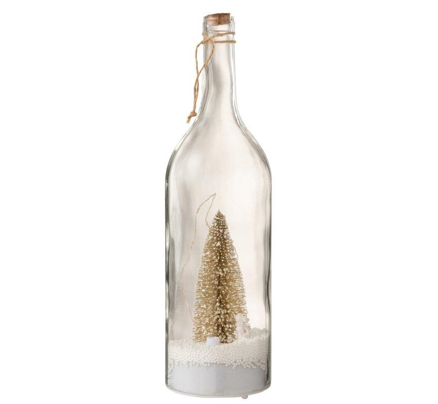 Decoratie Fles Kerstboom Ledverlichting Goud - Wit
