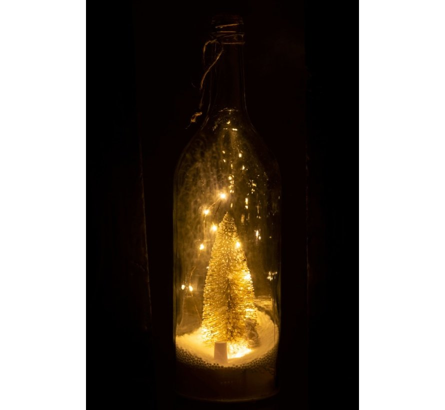 Decoration Bottle Christmas tree LED lighting Gold - White