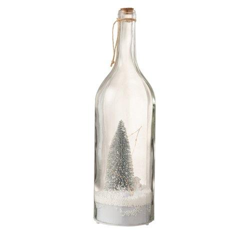 J -Line Decoratie Fles Kerstboom Ledverlichting Zilver - Wit