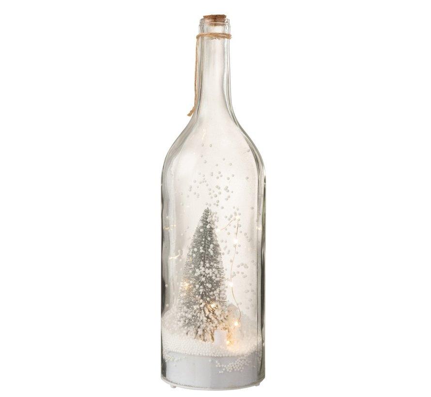 Decoratie Fles Kerstboom Ledverlichting Zilver - Wit