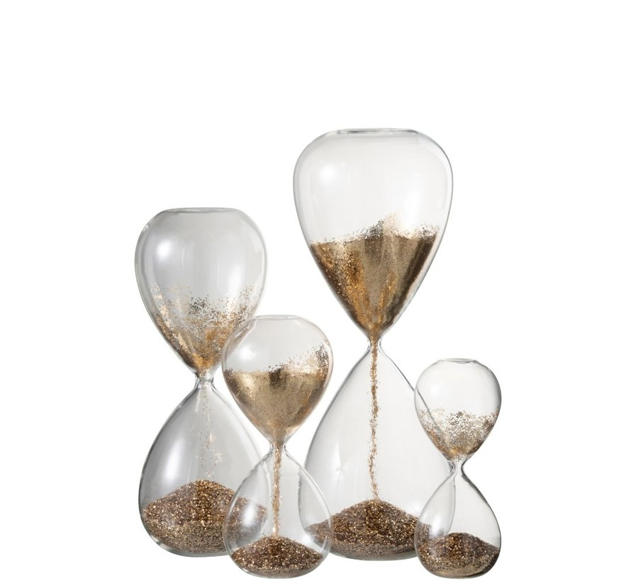 Decoratie Zandloper Glas Goud Parels - Extra Large