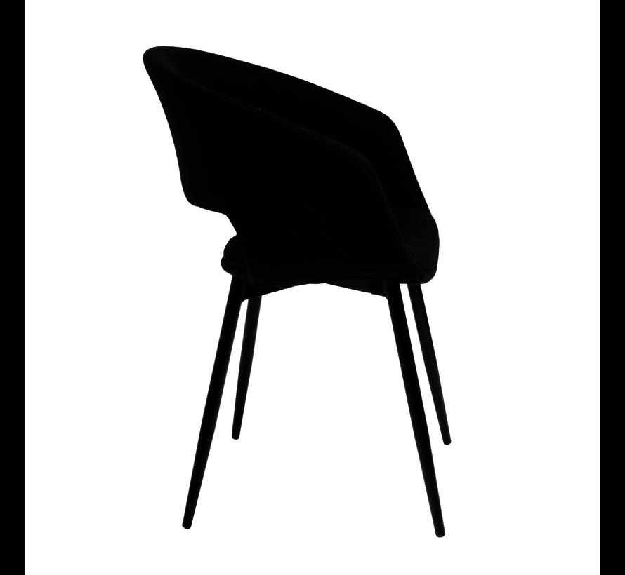 Eetkamerstoel Open Rugleuning Metalen Frame - Zwart
