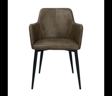 Kick Dining room chair Tough Metal Frame Pu Leather - Brown