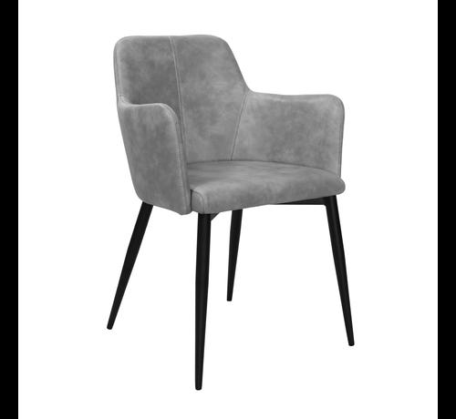 Kick Dining room chair Tough Metal Frame Pu Leather - Gray